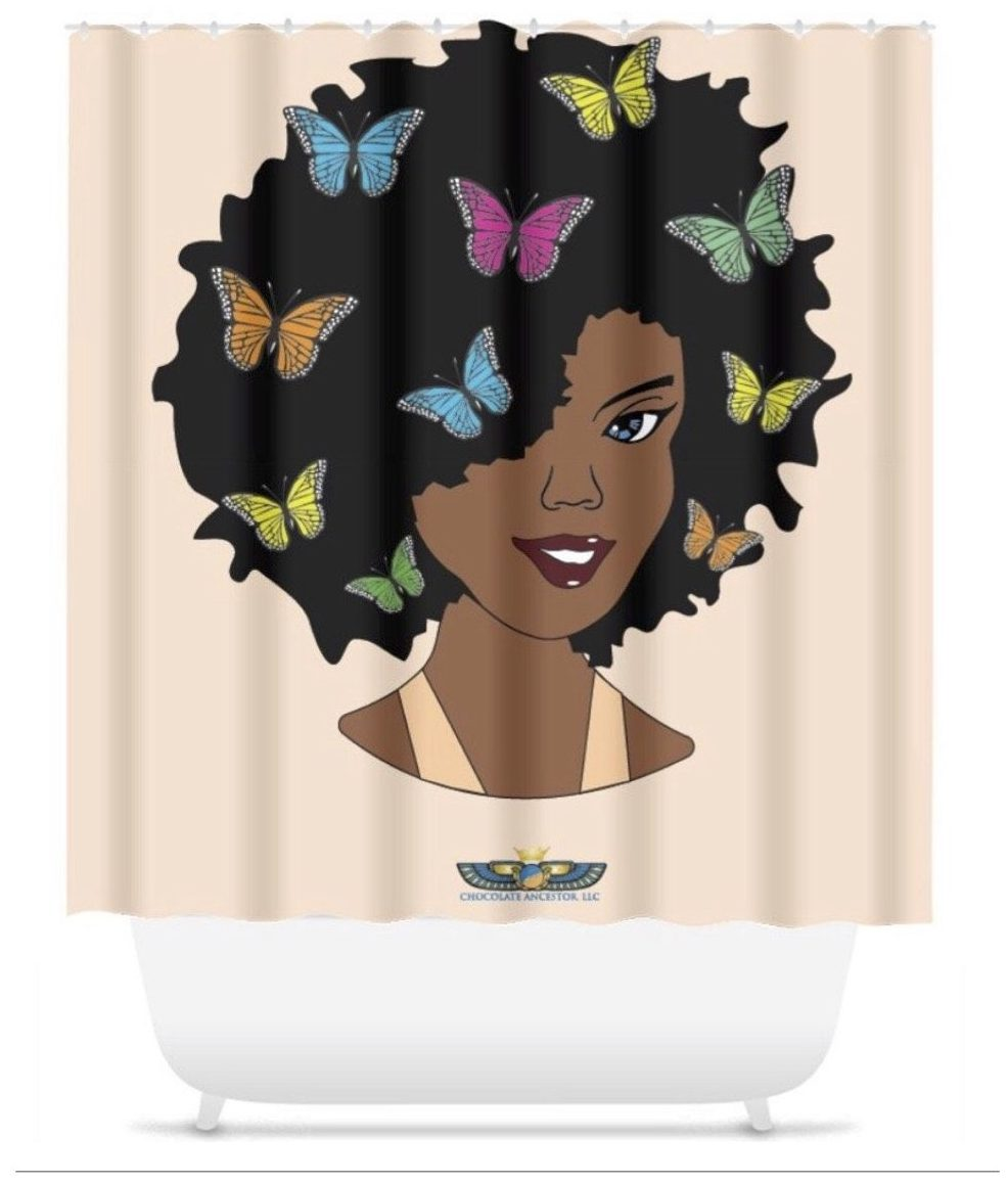 Chocolate shower curtain, afro, shower, curtain, butterfly